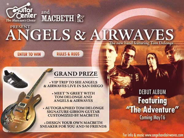 Enter to win a VIP trip to see Angels & Airwaves in San Diego, an autographed Tom Delonge Signature Gibson, and more